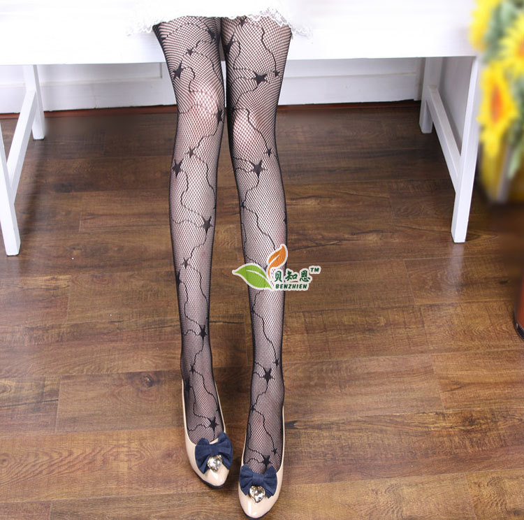 LIMSISNIW Stars Design Women Individuality Black Sexy Fishnet Tights Good Elasticity Ladies Patterned Slim Looking Pantyhose