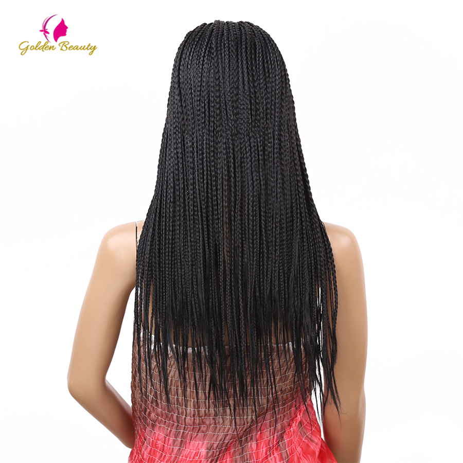 Synthetic Braided Lace Front Wigs For Women Braiding Hair Hot Natural Look Heat Resistant Box Braids Wig Golden Beauty