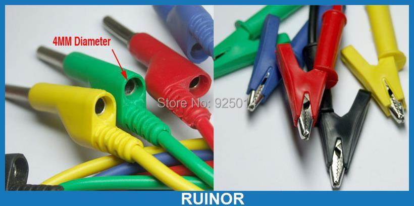 ФОТО 5 colors silicone Voltage Test probe Clamp Cable Alligator TO 4MM Banana plug
