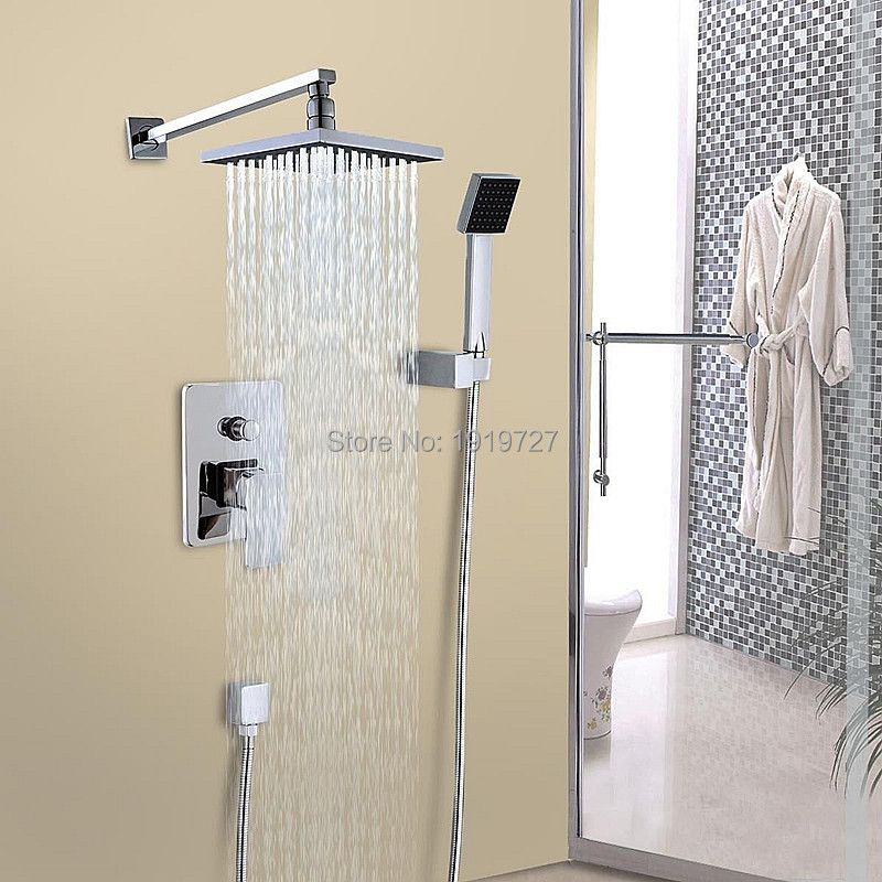 8 Inch Chrome Square Abs Rainfall Shower Head Valve Consolidated Brass Roman Wall Mounted Shower Set With  Abs Handheld 1 inch iron water valve bottom basket with bottom valve head shower valve underwater pump intake valve pump accessories