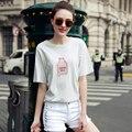 Nova Chegada de Moda Doce Cor de Verão de Manga Curta T-Shirt Das Mulheres de Roupas Para As Mulheres O Pescoço Loose Women Top Tees Camisas Casuais