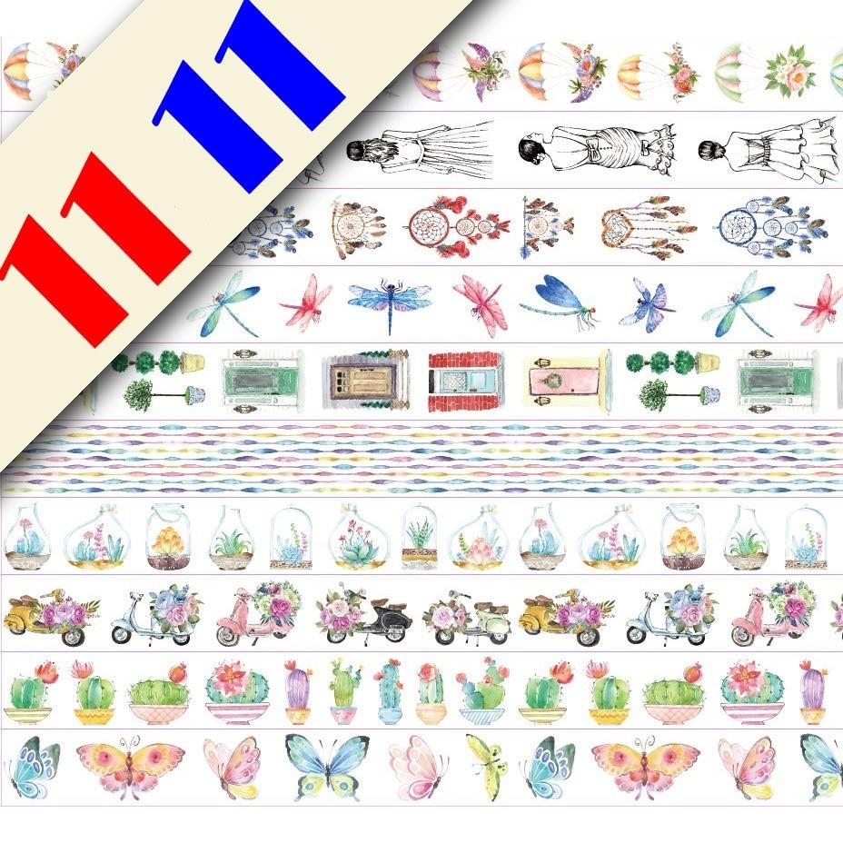 10Designs NEW!! Flowers/Girls/Dragon/Butterfly Pattern Japanese Washi Decorative Adhesive DIY Masking Paper Tape Sticker Label
