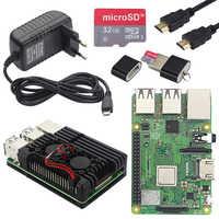 Original UK Raspberry Pi 3 Model B Plus with WiFi&Bluetooth+Power Supply+Aluminum Case with Dual Fan for Raspberry Pi 3B Plus