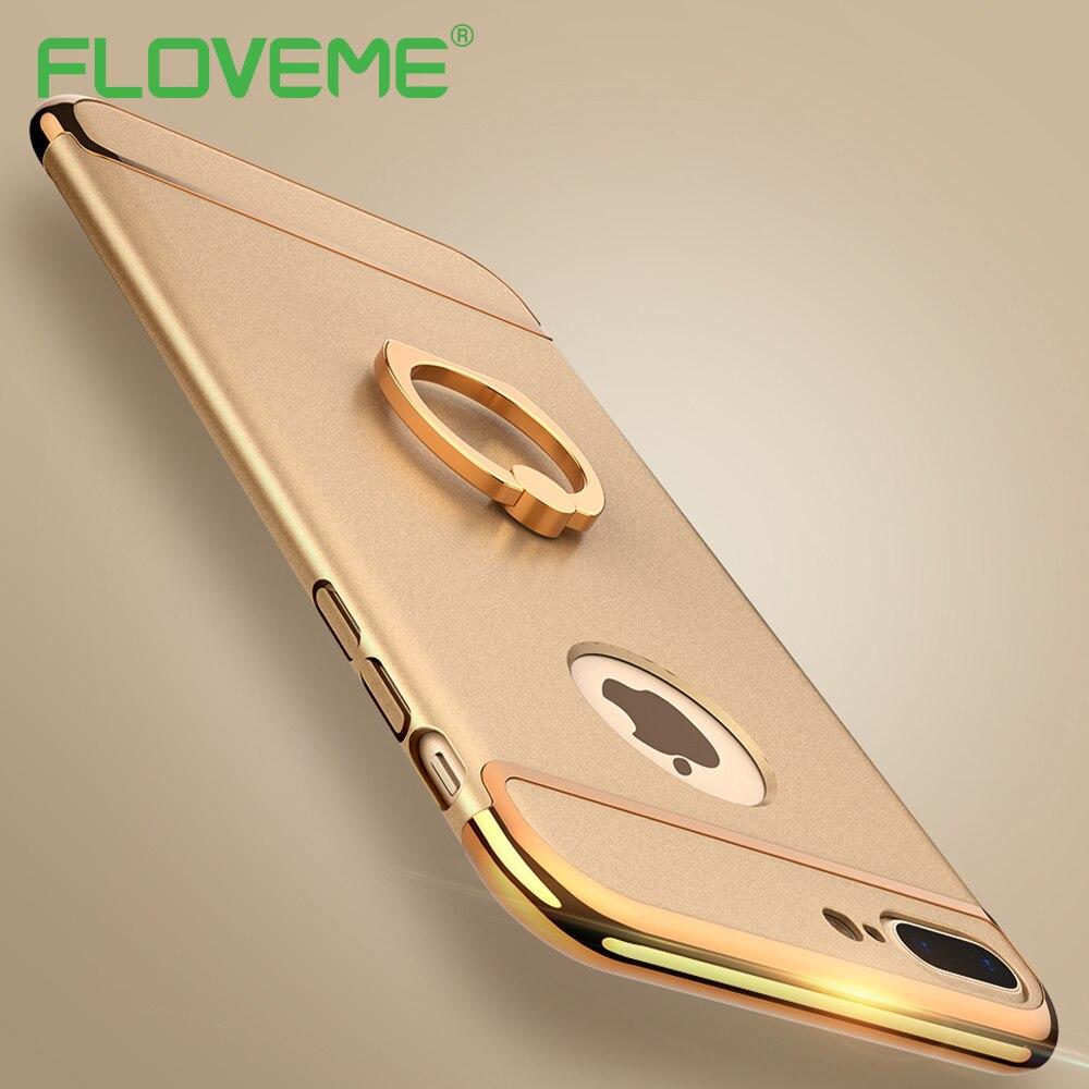 Floveme para iphone 7 case ultra delgado tpu combo de lujo chapado en oro anillo