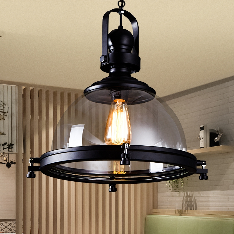 Vintage Iron LED Pendant Lights Loft Industrial Kitchen Hanging Lamp For Dining Room Decor Home Light Fixtures Glass Lampshade