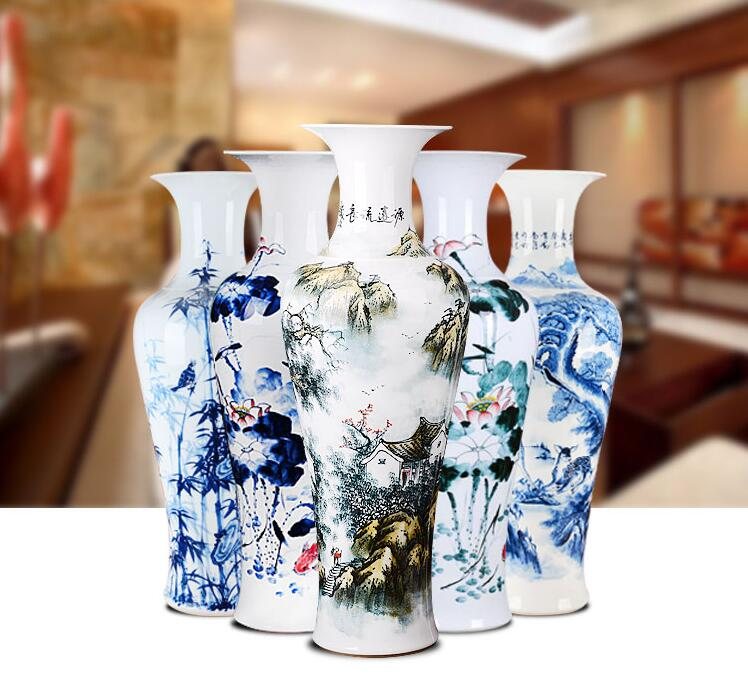 Contracted white porcelain of large modern hand-painted lotus