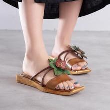 Женская летняя обувь из натуральной кожи на низком каблуке, женские сандалии ручной работы, шлепанцы с цветами, шлепанцы, 907-576