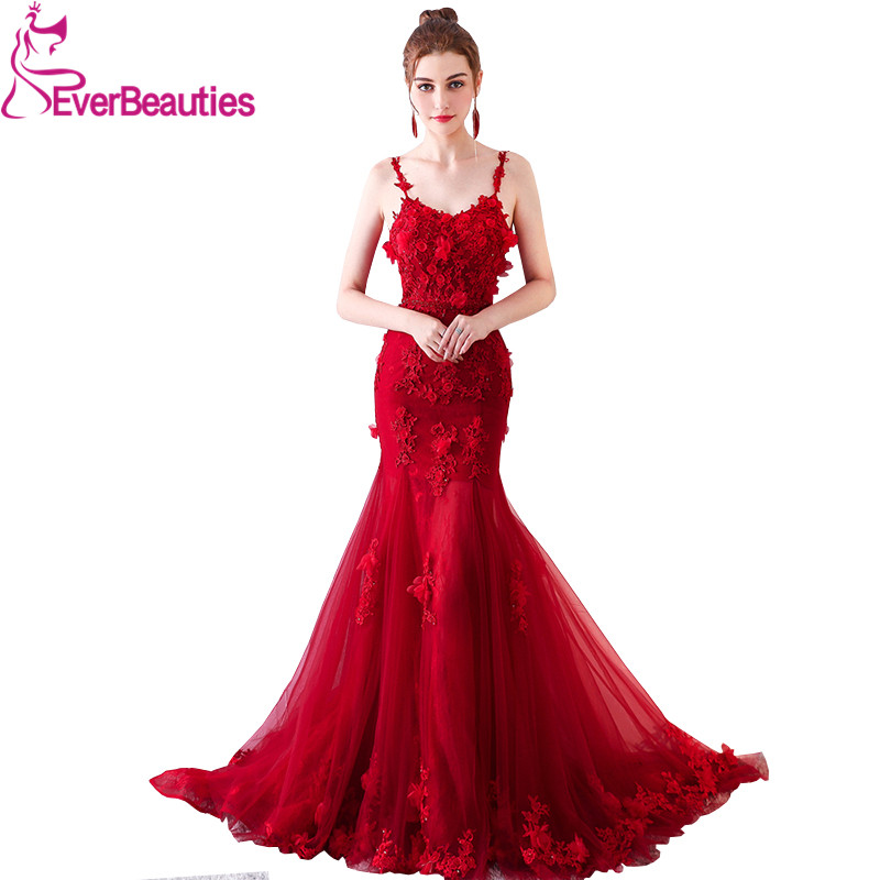 Sexy Spaghetti Strap Mermaid   Evening     Dress   Long Backless Party Gowns   Evening   Gowns Pary Gowns Robe De Soiree Luxus Abendkleider
