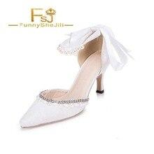 c6efe37ac Белая свадебная обувь Ремешок на щиколотке со стразами каблуке для свадьбы  Демисезонный привлекательный несравненный щедрый моды