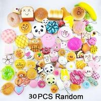 30pcs Cute Mini Soft Random Squishy Phone Straps Slow Rising Jumbo Squeeze Panda Cake Macaron Dessert