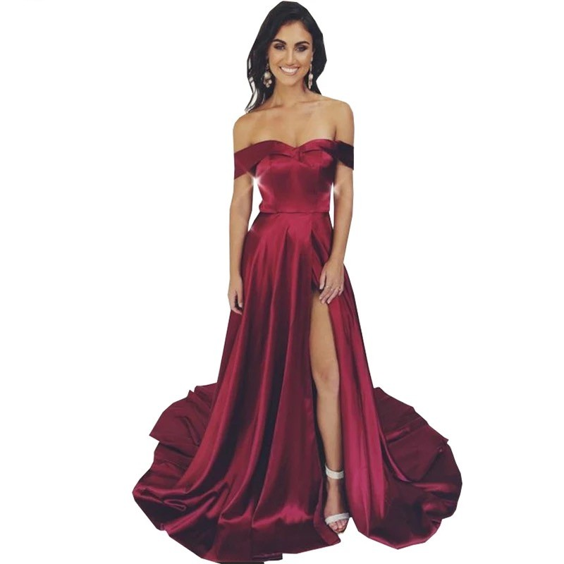 Sexy Simple Style Boat Neck   Evening     Dresses   Hot Off The Shoudler Sleeveless Zipper Back A-Line Side Slit Silk Satin Prom   Dresses