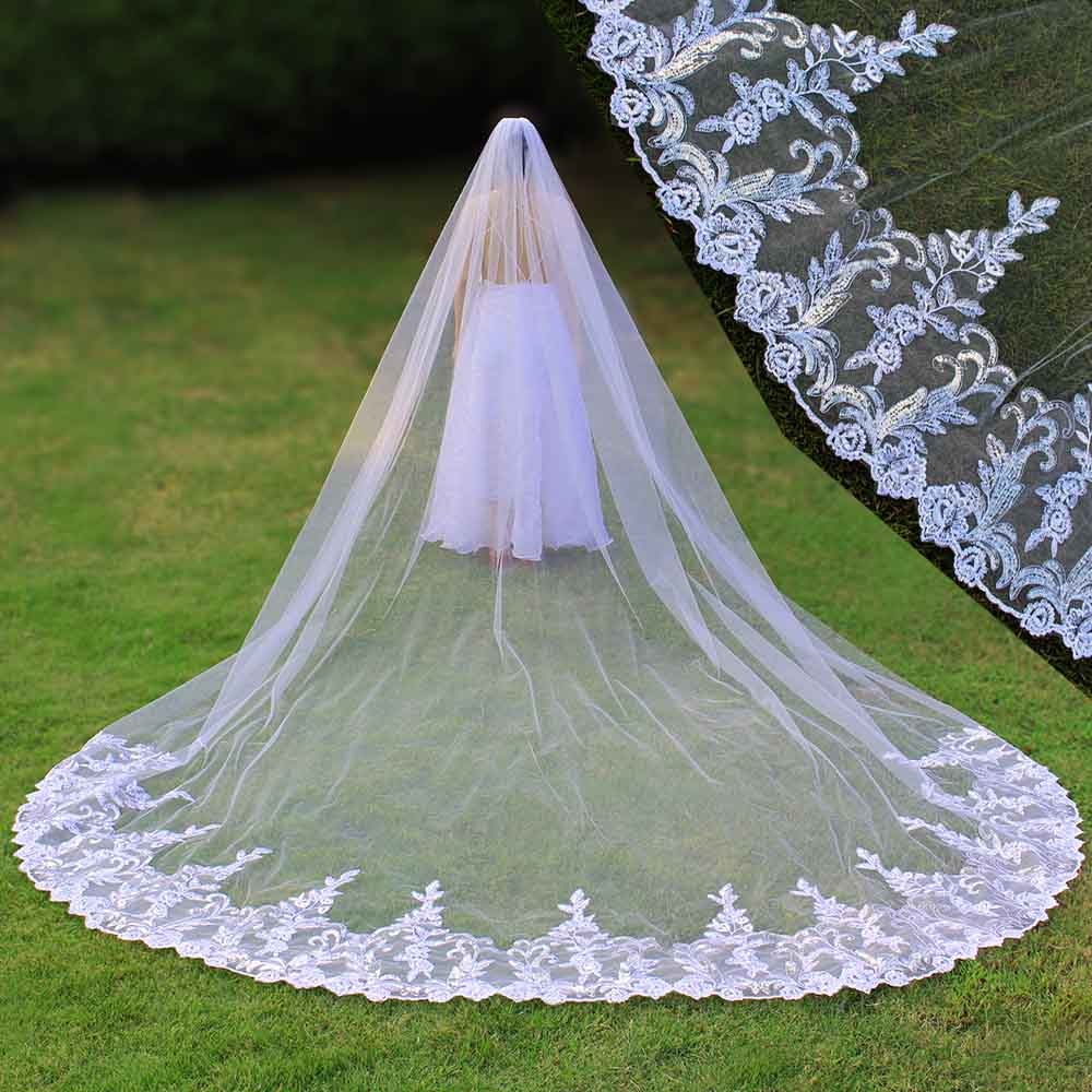 Real Photos 4 Meters Luxury Bling Sequins Lace Long Wedding Veil with Comb One Layer Bridal Veil 4 M Velo de Novia 2019