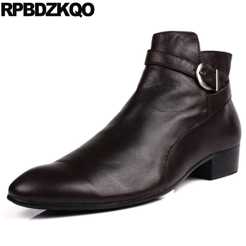 Chelsea Boots Spitz Casual Chelsea High Top Formale Booties Kurze Chunky Männer Schuhe Schwarz Stilvolle Designer Stiefel Männer Wasserdichte 2018