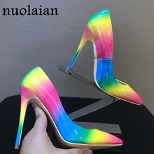 Patent Leather Point Toe Women Shoes Pump Shoe Dress High Heel Shoe Wedding Footwear Woman Party Pumps Wedge Platform High Heels(China)