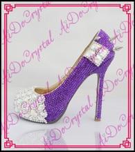 Aidocrystal New Arrival Rhinestones Wedding Shoes Women Closed Toe Heels Luxury Handmade Diamond Crystal Bridal High Heels