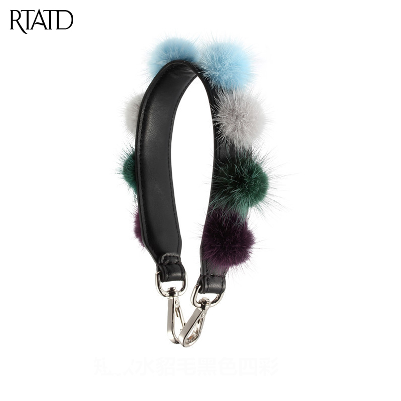 RTATD New Split Leather Fur Ball Design Handbag Strap Short Gold Buckle Trendy Bags Accessories Chic Bags Parts B169