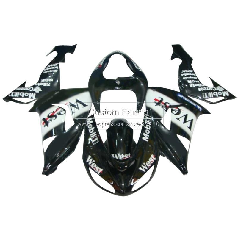 Negro kit de carrocería para Kawasaki ZX10R Ninja ZX 10R 2007 2006 West sticker 07 06 Kit de carenado carenados xl32
