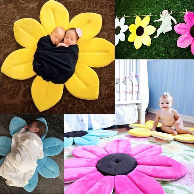 Smartlife 80*80CM  Baby Flower Bath Mat Net Anti-slip Sponge Mats Infants Shower Folding Seat Colourful Blooming Cushions 5