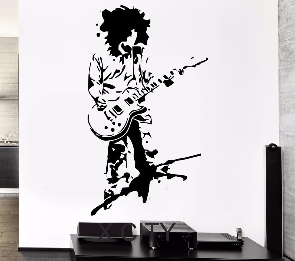 Music Rock Guitar Star Cool Pop Art Black Die Vinyl Wall