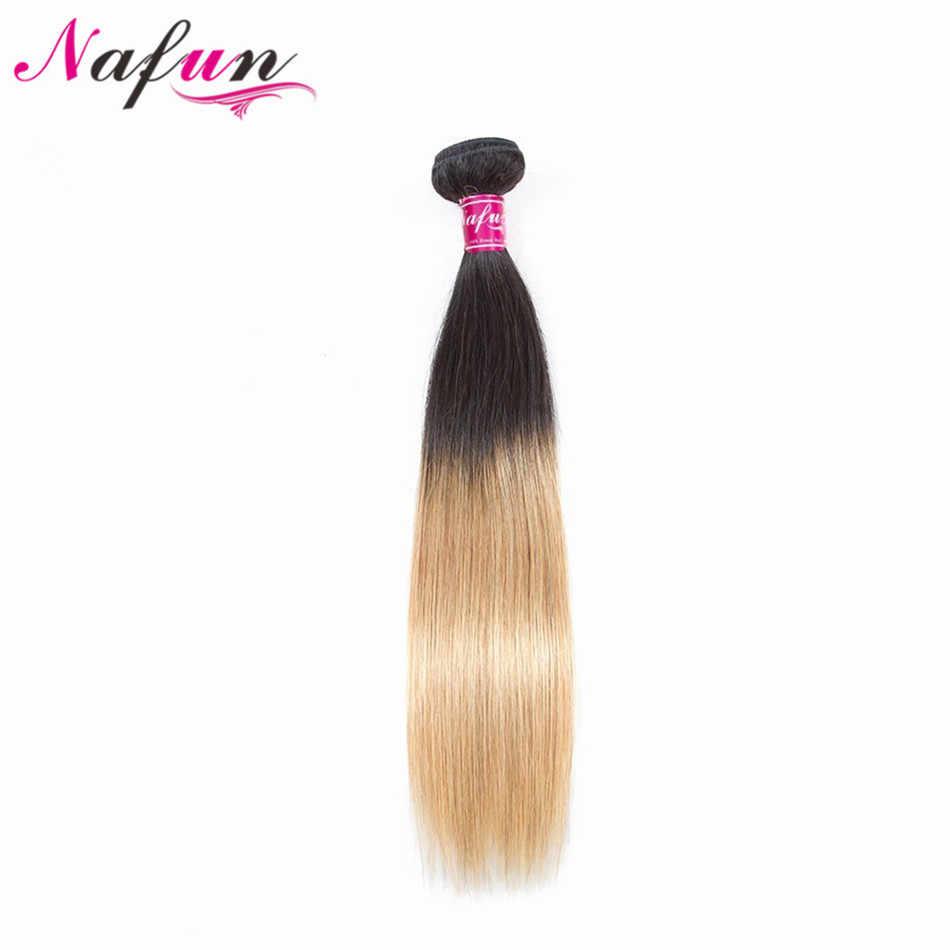 Nafun Rambut Lurus 100% Rambut Manusia Bundel T1b/27 Pirang Bundel Brasil Rambut Menenun Non Remy Ekstensi Rambut