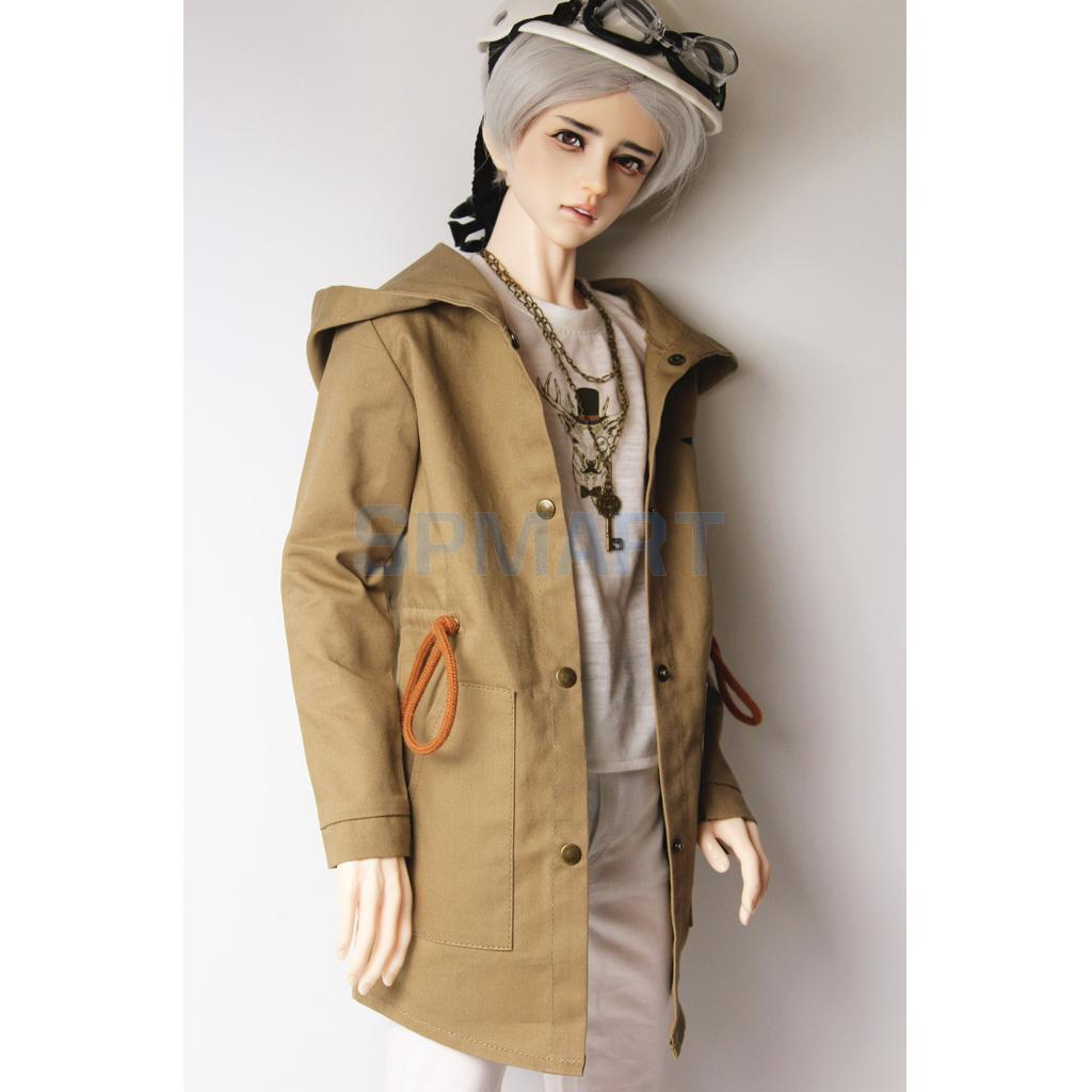 70cm Uncle BJD Khaki Hoodie Jacket for Male SD17 AOD AS DOD Doll Outfit Clothing Accessories super cool multi zipper multi way to wear buckle motorcycle leather jacket for bjd doll 1 3 sd17 uncle ssdf sd doll clothes cm2