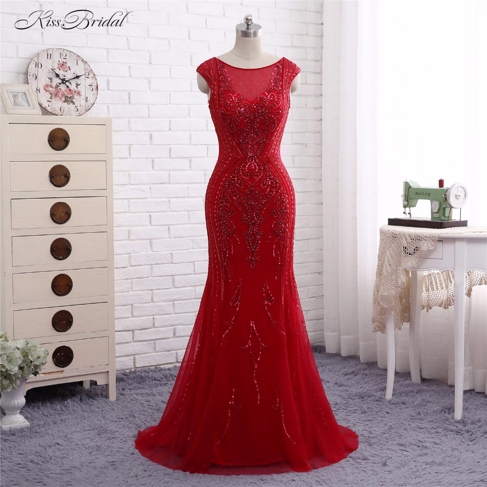 Red Backless Formal   Evening     Dresses   Abendkleider Robe de Soiree 2017 Mermaid Scalloped Short Cap Sleeve Party Prom Gown