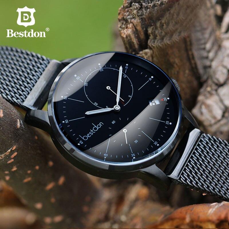 Bestdon mannen Mechanische Horloges Automatische Volledige Staal Waterdicht Zwart horloge Mode Trending Lichtgevende Zwitserland Luxe Merk-in Mechanische Horloges van Horloges op  Groep 1