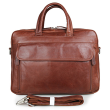 100% Genuine Leather Top Handle Mens Brown Briefcase Laptop Bag Busiess 7333B