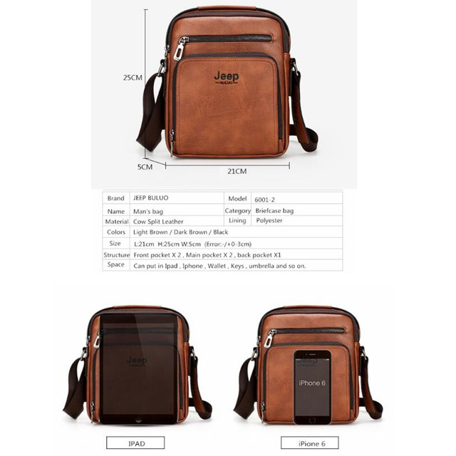 Jeep Brand Man Leather Bag High Quality Business Briefcase Tote Bags Male Cow Split Leather Handbag Messenger Bag For Men 6001