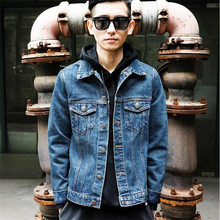 2017 New Brand Men Denim Jacket Casual Slim Jean Jacket Europe Style Fashion Men's Cotton Padded Denim Jacket Male A3316
