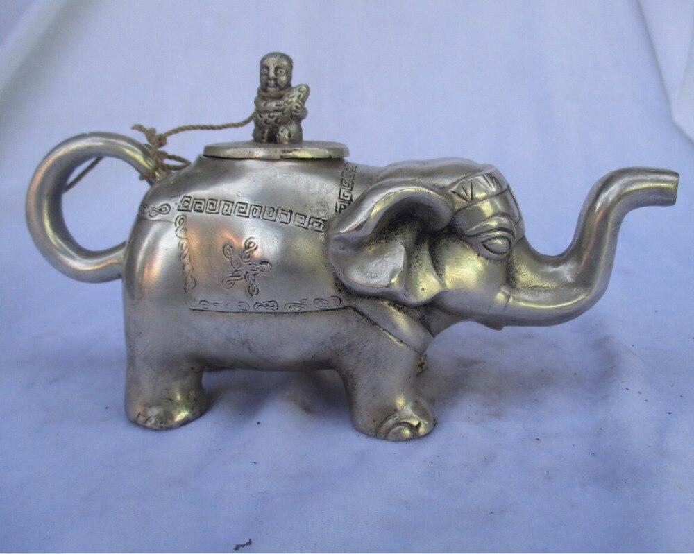 Collection décoré vieux travail manuel Tibet argent sculpté éléphant théière/Flagon livraison gratuite 000029