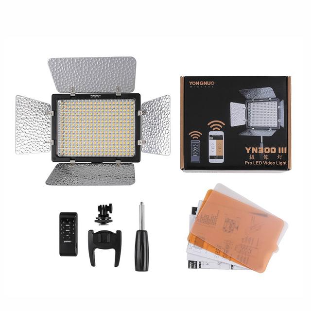Yongnuo YN300 III YN-300 III 3200k-5500K CRI95 Camera Photo LED Video Light with AC Power Adapter + Battery KIT