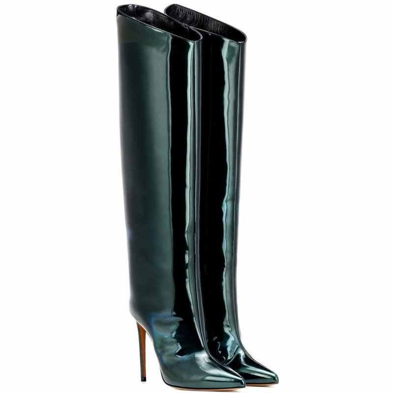 2019 European new fashion ladies boots pointed heel wide tube thigh boots large size sexy catwalk boots