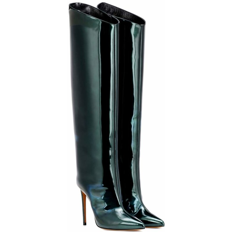 b5b938de4a7 2018 European new fashion ladies boots pointed heel wide tube thigh boots  large size sexy catwalk
