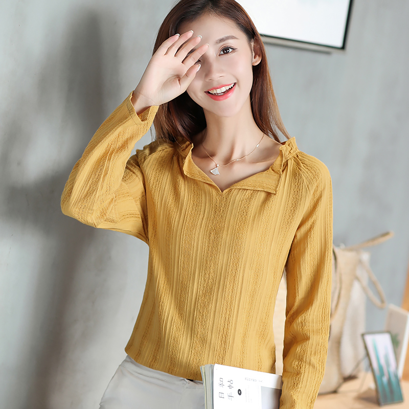 Yellow Top Women Long Sleeve Shirt Blouse White V Neck Casual Gauze
