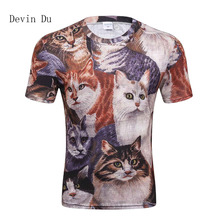 DERMSPE 2018 Devin Du T-shirt Men 3d Print Meow Star Cat Hip Hop Cartoon TShirts