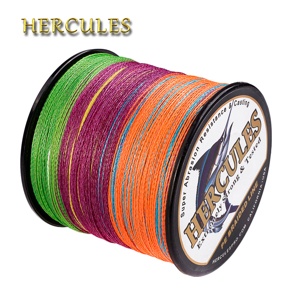 Hercules 100M-2000M Fishing Line Multicolor PE 4 Strands Carp Braided Fishing Line Saltwater Pesca Super Strong Sea Vissen Cord