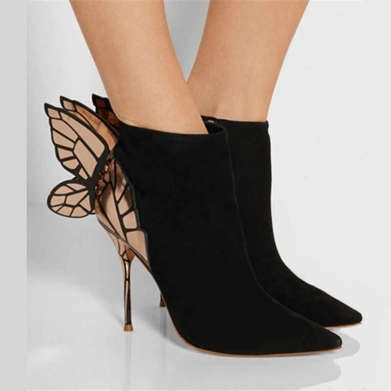 Prova Perfetto Kelebek Kanat Tasarım Kadın yarım çizmeler Sivri Burun Yüksek Topuklu Süet Botas Mujer Sevgililer Ayakkabı Kadın Pompaları