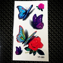 Amazing Flash Colorful Temporary Tatto Stickers GYF-080 3D Butterfly Rose Design Sezy Women Body Art Waterproof 3D Tattoo Papers