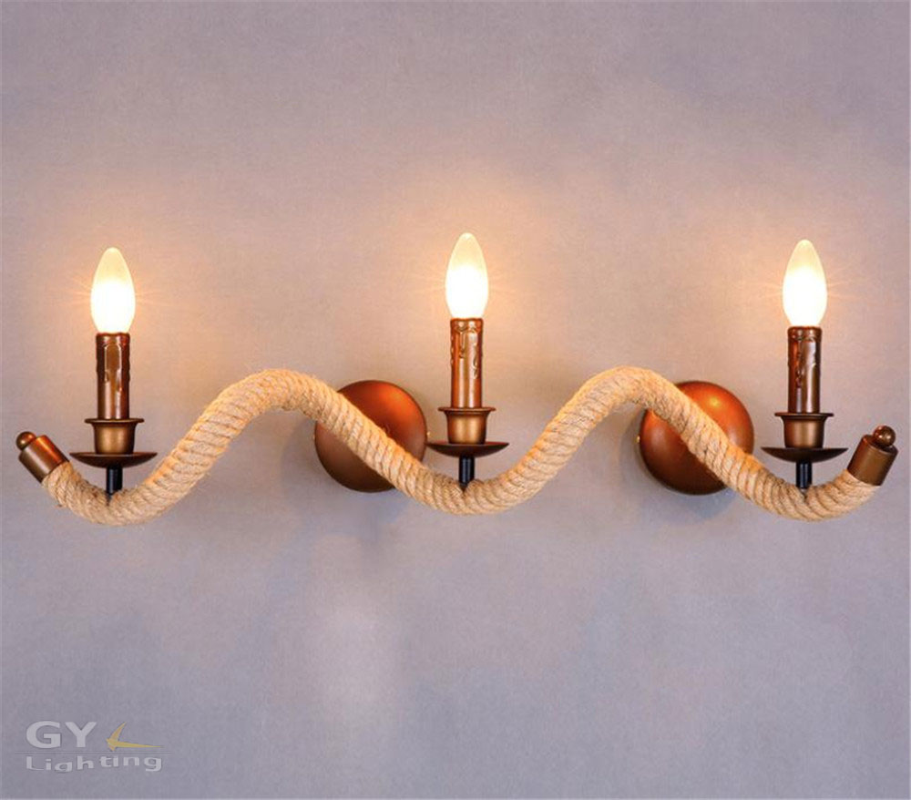 AC100-240V Nordic retro designer lamps modern minimalist balcony stairs light twisted twine hemp rope rustic candle Wall sconce  scandinavian retro fashion designer lamps minimalist balcony staircase wall sconce lights semicircle hemp pendlight chandelier