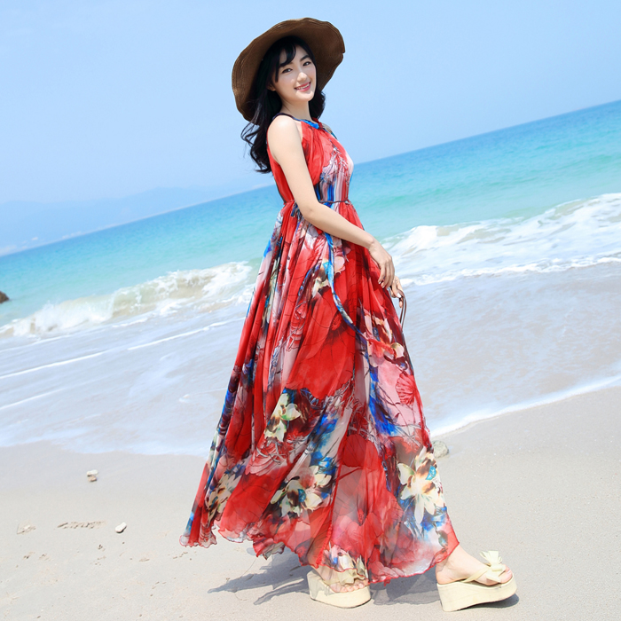 2bc1cec75eae4 2017 Chiffon spaghetti strap bohemia one-piece dress full beach dress plus  size loose sundress