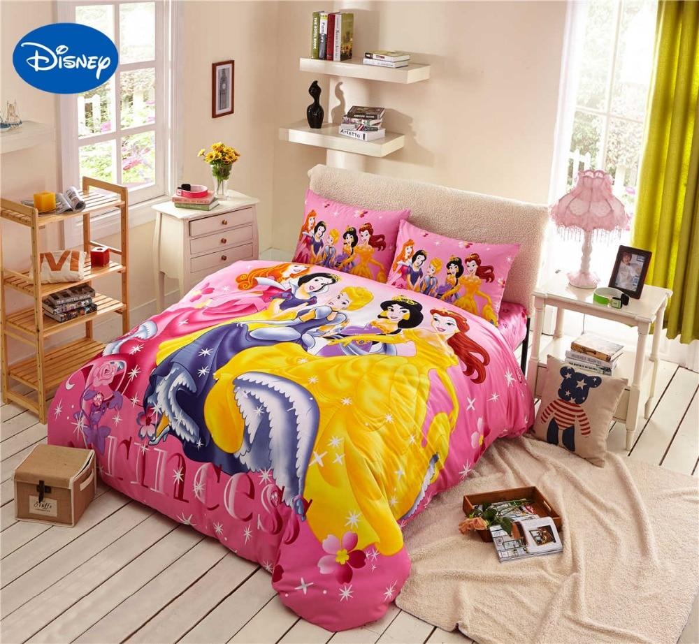 princess bedding for girls home decor cotton fabric comforter bed duvet cover set single twin. Black Bedroom Furniture Sets. Home Design Ideas