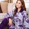 Mulheres Pijamas de inverno Pijamas de Flanela Pijamas Longo-luva Wisteria Floral Espessamento Coral Fleece Sono Mulheres Set Lounge Pijama