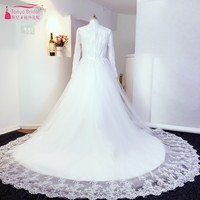 Vintage Elegant Long Sleeves High Collar Lace Appliques White Tulle Chapel Train Wedding Dresses 2017 Real