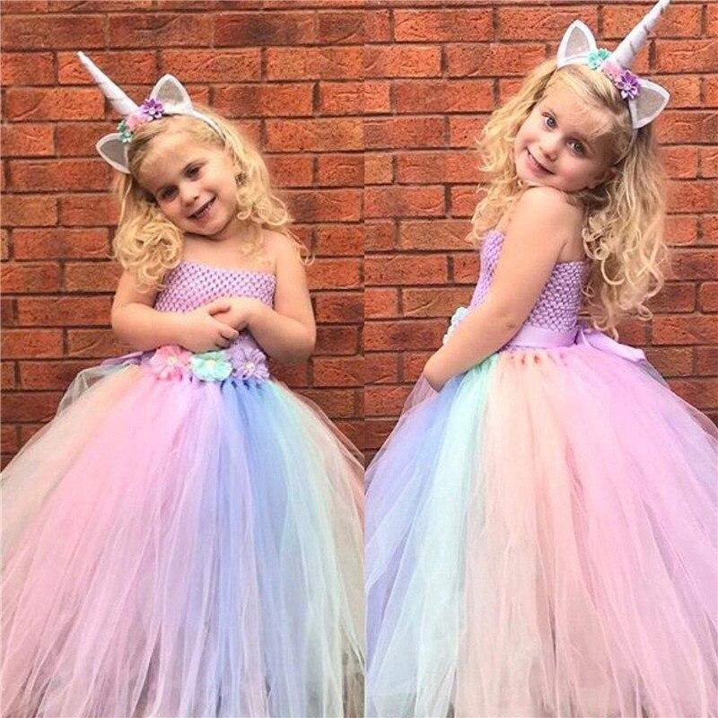 Nueva flor niña vestidos de niña unicornio Arco Iris vestido sin tirantes de la longitud del tobillo bola vestido para fiesta de cumpleaños boda