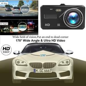 "Image 2 - 대시 캠 듀얼 렌즈 풀 HD 1080P 4 ""IPS 자동차 DVR 차량용 카메라 전면 + 후면 야간 투시경 비디오 레코더 G 센서 주차 모드 WDR"