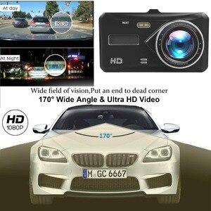 """Image 2 - Çizgi kam çift Lens Full HD 1080P 4 """"IPS araba dvrı araç kamerası ön + arka gece görüş Video kaydedici g sensor park modu WDR"""