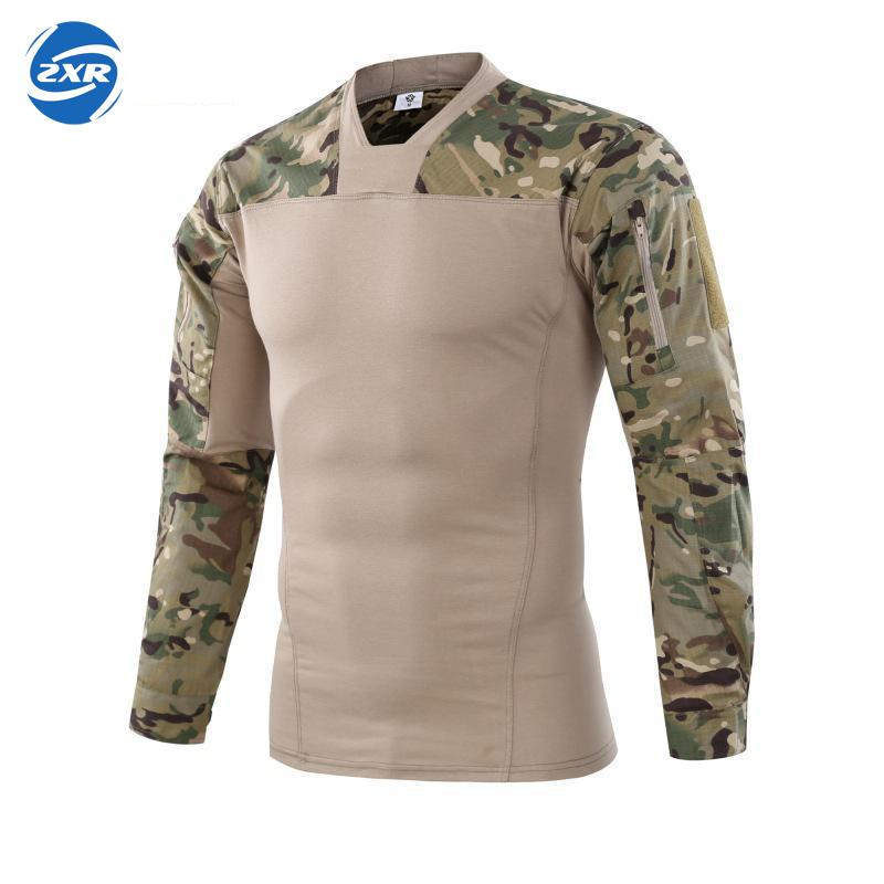 Man Hunting Finshing T-shirt V-neck Long Sleeve Combat Men Army Military Soldiers Force Camouflage Tactical Hunting T-shirt twist open v back t shirt