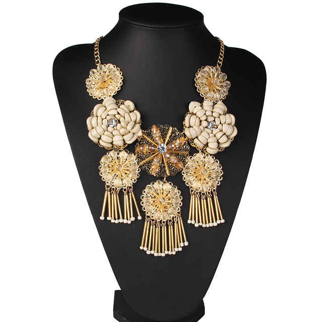 Fashion Bohemian Crystal Glass Ball Resin Flower Necklace Exotic Jewelry For Women Dress Accessories Bijoux