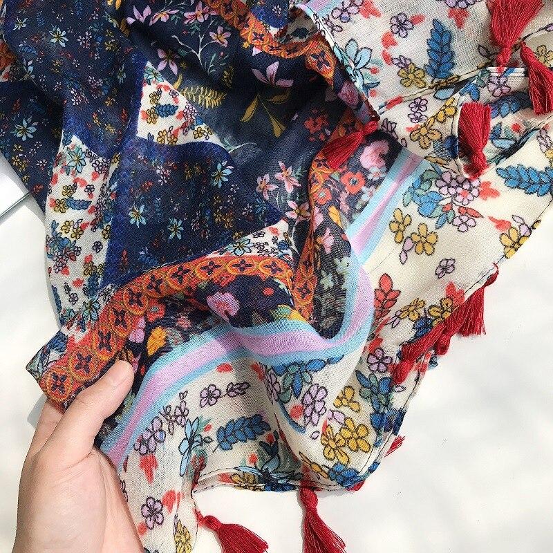 2019 Women Brand Fashion Aztec Floral Tassel Viscose Shawl Scarf Print Soft Wrap Pashminas Sjaal Muslim Hijab Snood 180*90Cm